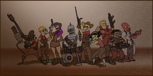 Futurama as Team Fortress 2 by Brah-J
