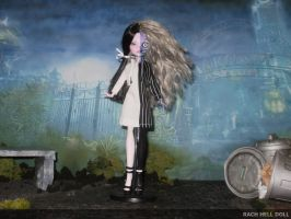 monster high custom repaint daughter of two face by Rach-Hells-Dollhaus