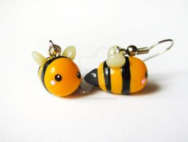 Yellow Bumble Bee Earrings by mAd-ArIsToCrAt