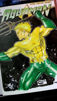 aquaman sketchcover jusice league blank by Sajad126