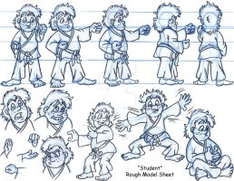 Kid Karate Student Rough Model by Animator-who-Draws