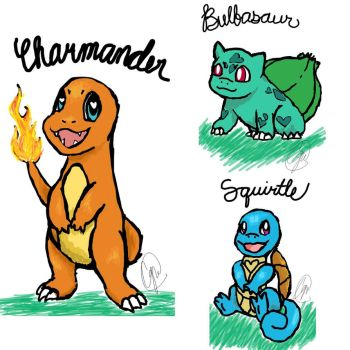 phone sketch #1: kanto starters by Cassidillian