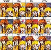 Expression sheet-Naruto:Kyuubi by F-E-Clair