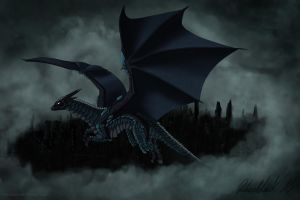 Dark armorplate dragon Noxus flies in the skies by Vapolord