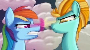 Wallpaper Rainbow Dash and Lightning Dust by clayman778