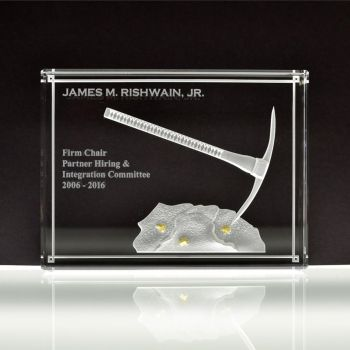 Crystal Award Multi Stage Etched - Pickaxe in Rock by ImaginedGlass