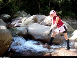 Sakura haruno_waterfall- by CherrieSakura