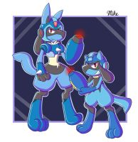 Lucario X and Mega Riolu by LucarioOcarina