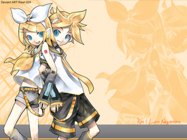Rin and Len Wallpaper by Rawr-024