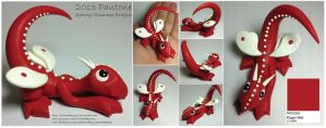 Pantone Poppy Red Butterfly Dragon by lizzarddesigns