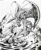 Dragonkiss Pen and Ink by Dubisch