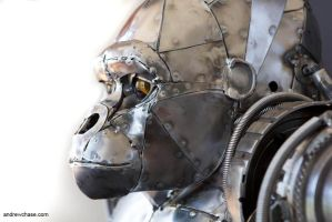 Mechanical metal gorilla -closeup 2 by Andrew-Chase