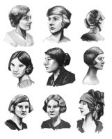 1920's Face Studies by Eliket