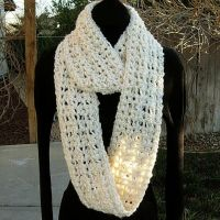 Infinity Cowl Scarf Cream and White by MicheleMade