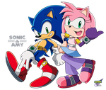 Commission: Sonic and Amy by RGXSuperSonic