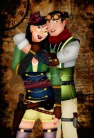 Steampunk Mulan and Shang by HelleeTitch