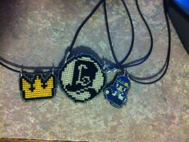 Kingdom heart crown, Layton hint coin and Noiz! by UnyieldingMadness