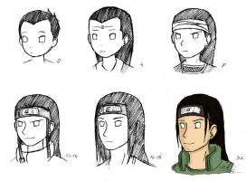 Neji Hyuga at different ages by WennMacTire