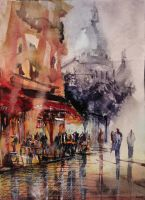 Montmartre watercolor by nicolasjolly