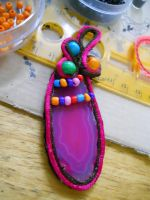 pink ahat pendant by AniDandelion