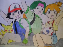 Ash, Tracey, and Misty by AJLeefan4life