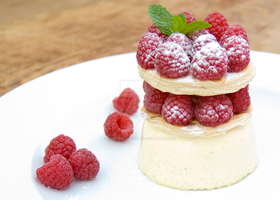 Panna Cotta Mille Feuille with Raspberries by iconsPhotography