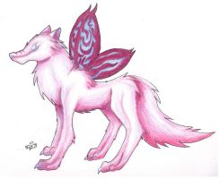 Pinkish Wolf by The-Silver-Ninja