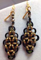 Honeycomb Chainamille Earrings by Krystalchains