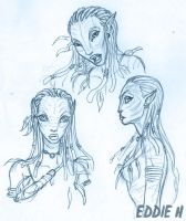 Neytiri sketches by EddieHolly