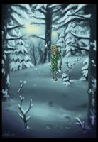 Link in a snowy forest by Wictorian-Art