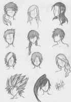 More Anime Hair Practice by ajbluesox