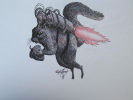 Epic Squirrel with a Jet Pack by OMKDrawings