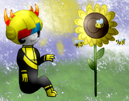 bumblebees and sunflowers by felinic-ponii
