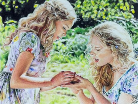 Colour pencil drawing of a scene fr Cinderella by chaseroflight