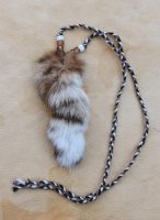 Bobcat tail and beads necklace by lupagreenwolf