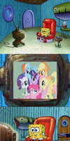 SpongeBob is secretly a brony by SpiderFingers15