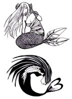 Mermaids tattoo designs 1 by Niuniente