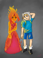 Flame Princess and Finn by MajaPihl