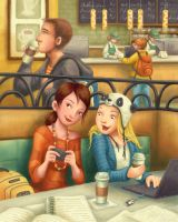 Cliques in the Cafe by Isynia-Artessa