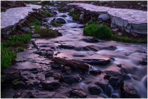 Evening Light on Libby Creek by wyorev