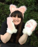 Pink and White Kitty Ears and Paws by Lady-with-a-buzzsaw