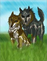 The two Alpha wolves of Time by StephaniaArts