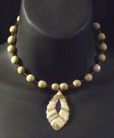 Ivory and Sepia Necklace by MorganCrone
