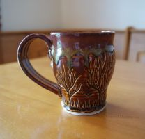Ceramic Rusty Brown Tree Themed Mug by ashynekosan