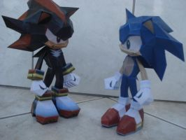 Shadow + Sonic by MoonchildLuiza