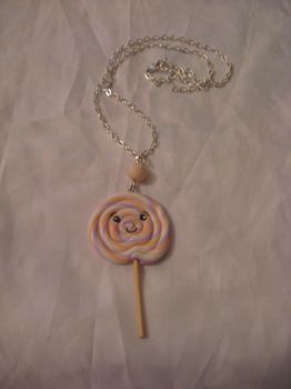 Kawaii polymer clay lollipop necklace by assassin-kitty