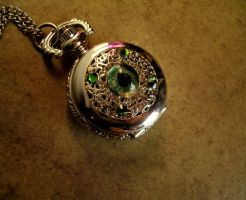 Petite Regal Pocket Watch - Silver and Green Fire by LadyPirotessa