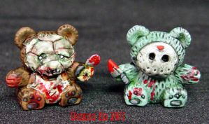 Leather Face and Jason Bears by Undead-Art