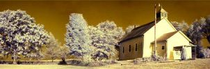 Infrared Panoramic Church by GallamorePhotography