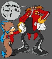 Emily the Wolf and Eggman (collab and rp) by emerswell